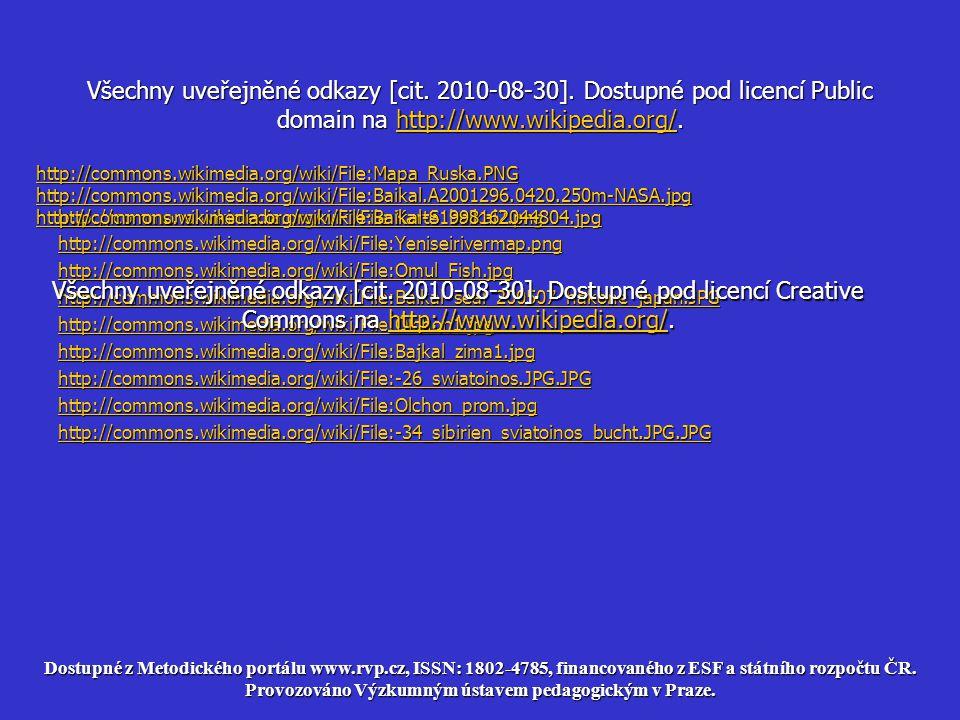 Všechny uveřejněné odkazy [cit. 2010-08-30]